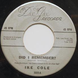 Ike Cole - Did I Remember?/My Blue Heaven